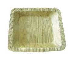 Assiette en bambou carrée 15 cm jetable biodegradable